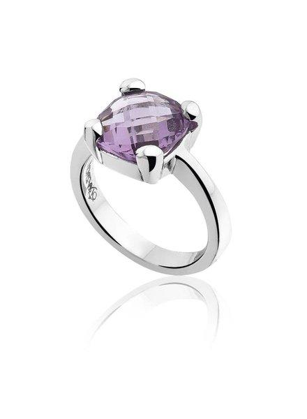 Zilveren ring met paarse Amethist steen