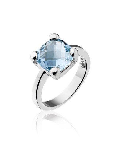 Zilveren ring met blauwe Topaas steen | Ringen | Sieraden online bestellen | Fuva.nl