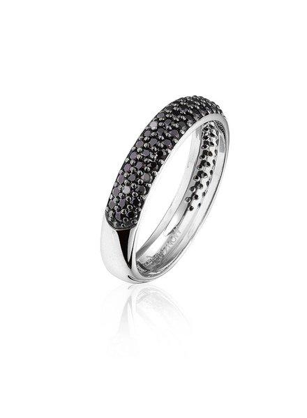 Zilveren ring met zwarte Swarovski bergkristallen