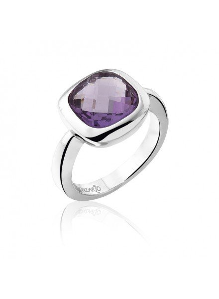 Zilveren ring met vierkante paarse Amethist steen