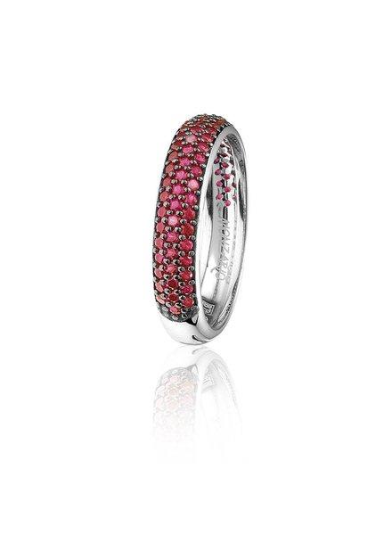 Zilveren ring met rode Swarovski bergkristallen