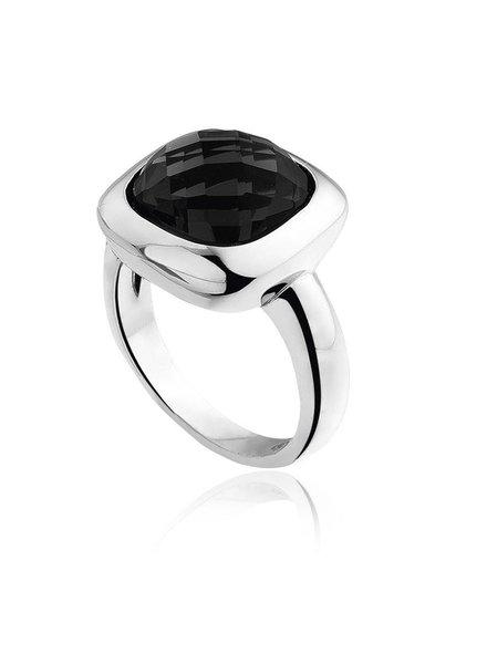 Zilveren ring met vierkante zwarte Onyx steen