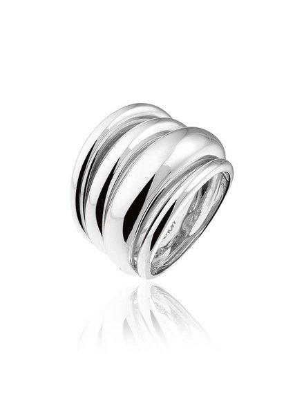 Zilveren ring met 4 rijen