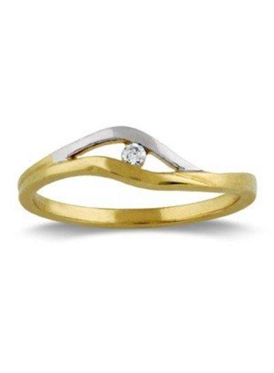 Geel met witgouden ring en Diamant | Trouw- Verlovingsring | Ringen | Sieraden online bestellen | Fuva.nl