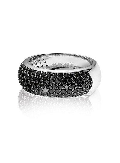 Zilveren ring met zwarte Swarovski bergkristallen | Ringen | Sieraden online bestellen | Fuva.nl