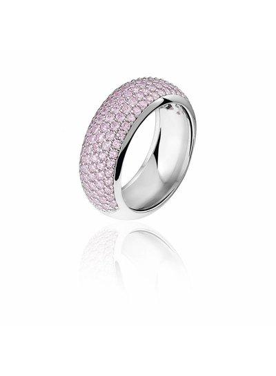 Zilveren ring met roze Swarovski bergkristallen | Ringen | Sieraden online bestellen | Fuva.nl