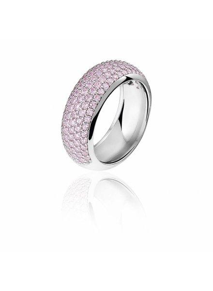 Zilveren ring met roze Swarovski bergkristallen