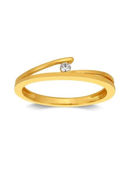 Gouden ring (14 Krt) met Diamant van 0,04ct