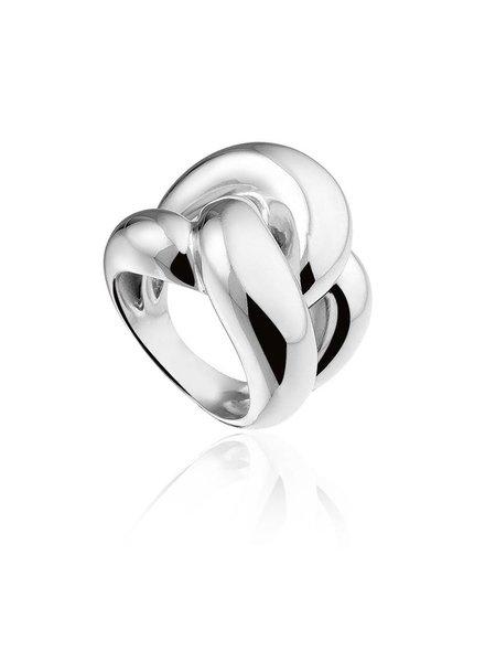 Zilveren ring in knoopvorm