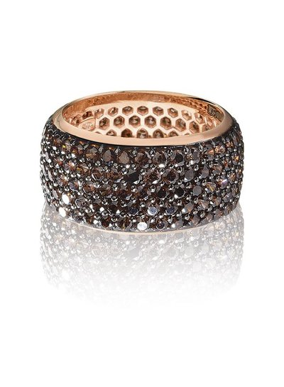 Zilver rose vergulde ring met bruine Swarovski bergkristallen | Ringen | Sieraden online bestellen | Fuva.nl