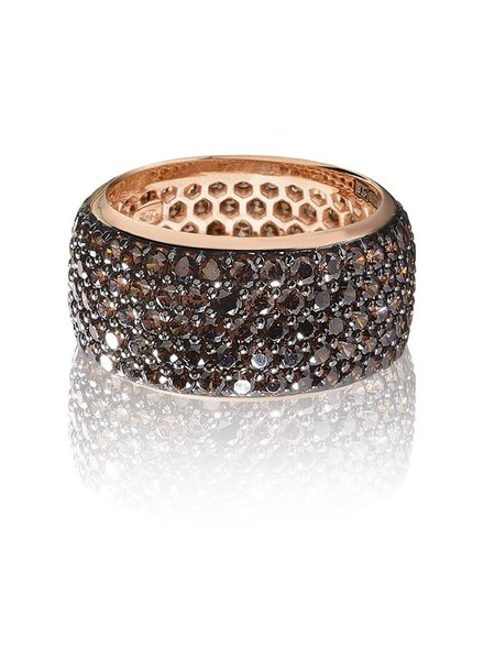 Zilver rose vergulde ring met bruine Swarovski bergkristallen