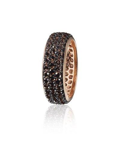 Zilver rose vergulde ring met 3 rijen bruine Swarovski bergkristallen | Ringen | Sieraden online bestellen | Fuva.nl