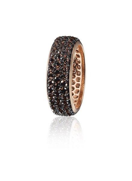 Zilver rose vergulde ring met 3 rijen bruine Swarovski bergkristallen