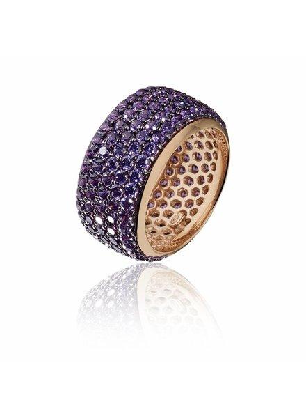 Zilver rose vergulde ring met paarse Swarovski bergkristallen