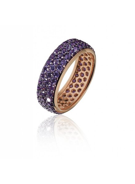 Zilver rose vergulde ring met 3 rijen paarse Swarovski bergkristallen