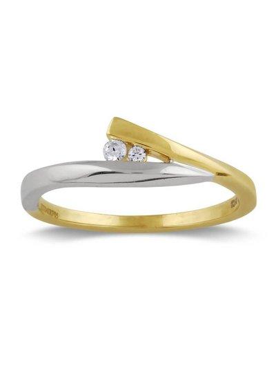 Geel/witgouden ring (14 Krt) met 2 Diamanten | Trouw- Verlovingsring | Ringen | Sieraden online bestellen | Fuva.nl