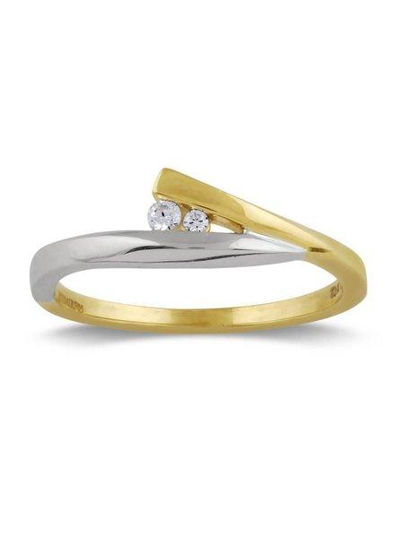 Geel/witgouden ring (14 Krt) met 2 Diamanten
