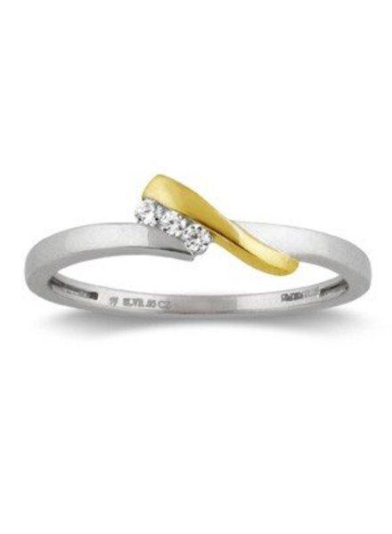Geel/witgouden ring (14 Krt) met 3 Diamanten