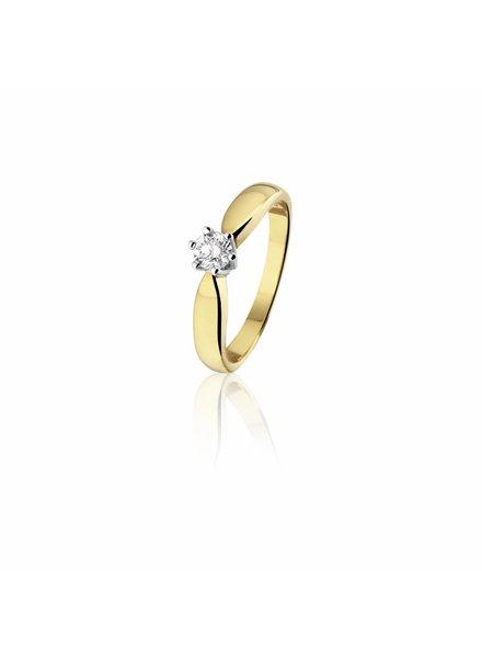 Gouden ring met 0,23ct. Diamant