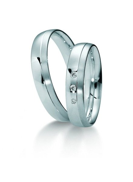 Klassiek witgouden trouwringen met 3 Diamanten