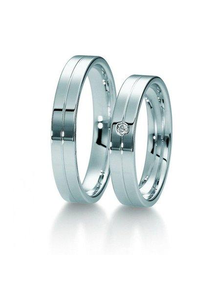 Klassiek witgouden trouwringen met 1 Diamant