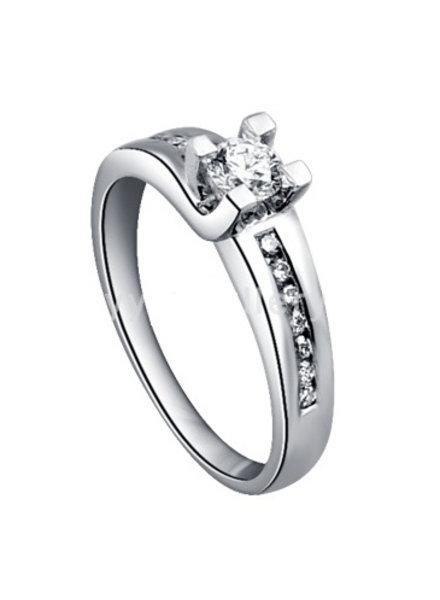 Witgouden ring met 13 Diamanten