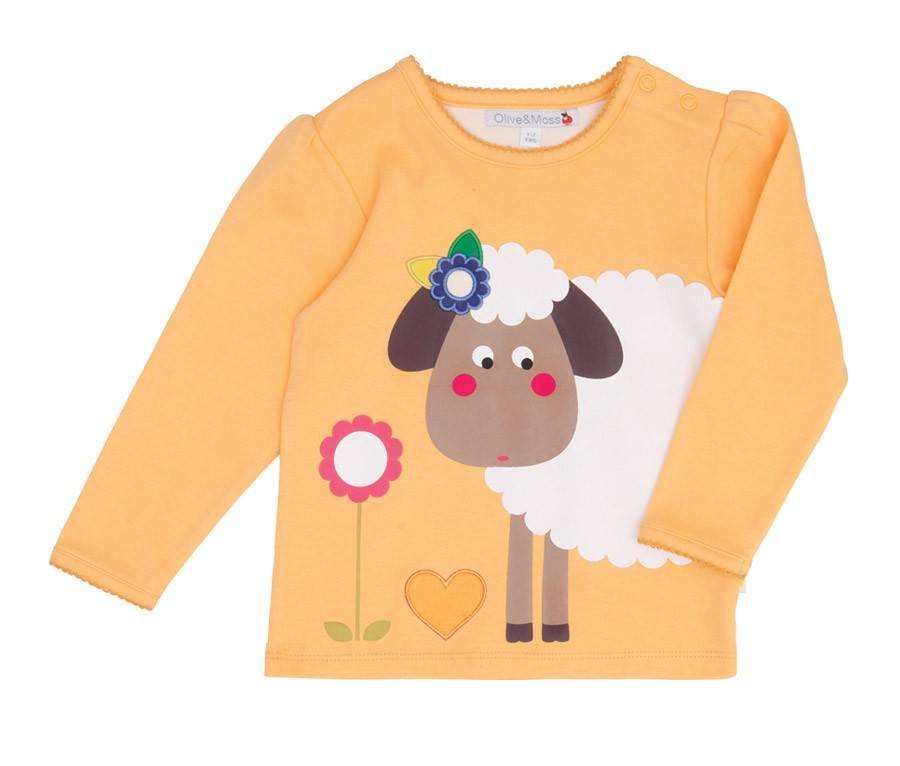 Olive & Moss Olive & Moss Sheila the Sheep T-Shirt Lange Mauw