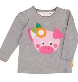 Olive & Moss Olive & Moss Peggy the Pig T-Shirt Lange Mauw