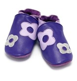 Baby Dutch Baby Dutch Purple Leather Slippers with Flowers