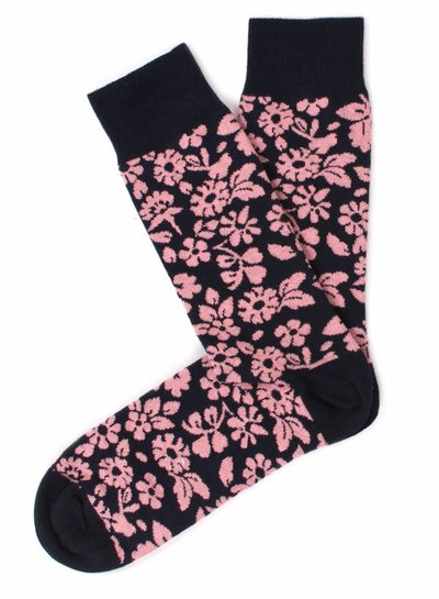Navy Socks, pink flower