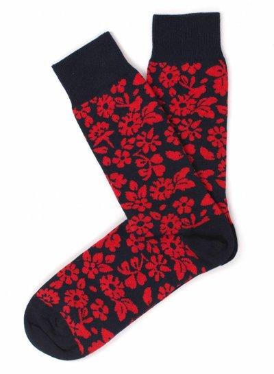 Navy Socks, red flower