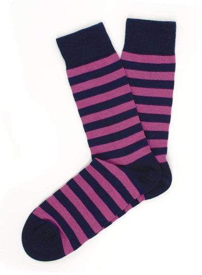 Navy socks, fuchsia stripes