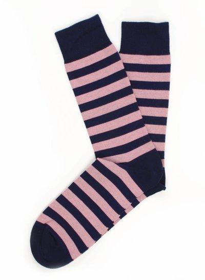 Navy Socks, roze gestreept