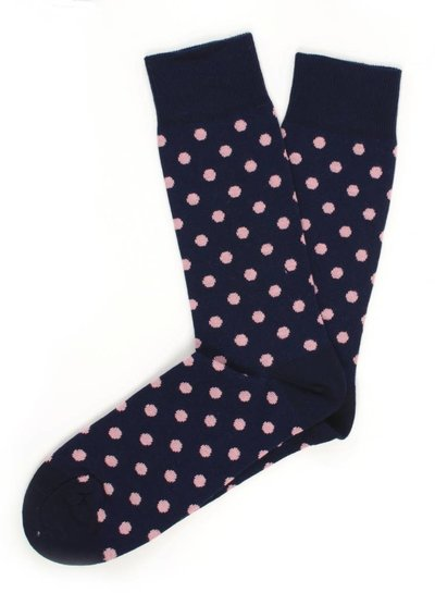 Navy Socks, pink dotted