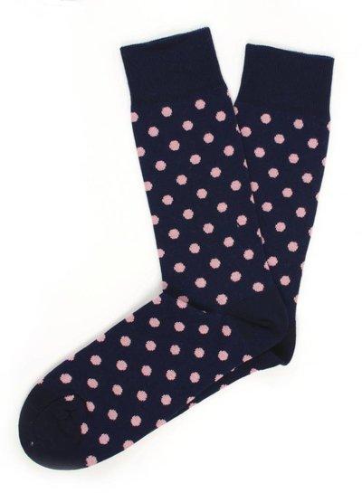 Navy Socks, roze gestipt