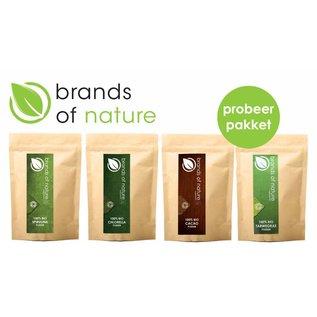 Brands of Nature Probeerpakket Chlorella-, Spirulina-, Cacao-, en Tarwegraspoeder