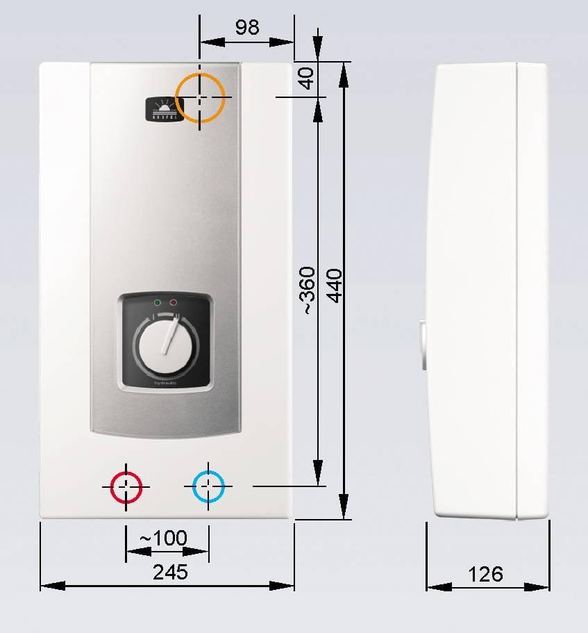 kospel s a pph2 18 hydraulic 18 kw elektrischer durchlauferhitzer mit hydraulischer steuerung. Black Bedroom Furniture Sets. Home Design Ideas