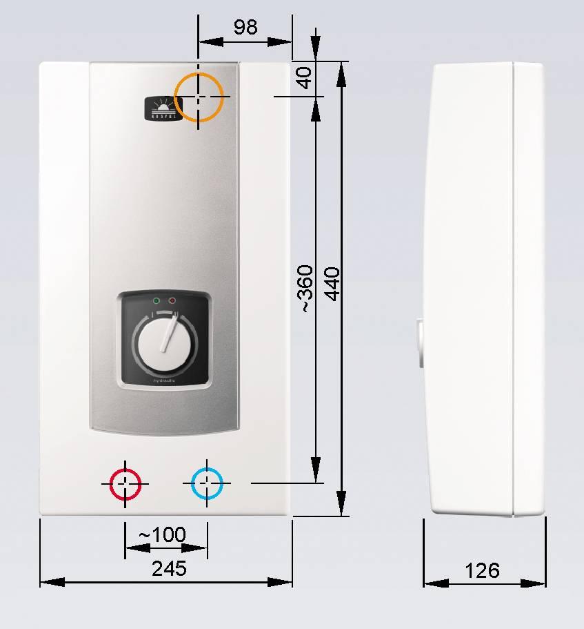 kospel s a pph2 21 hydraulic 21 kw elektrischer durchlauferhitzer mit hydraulischer steuerung. Black Bedroom Furniture Sets. Home Design Ideas