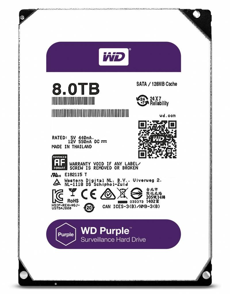 "Western Digital (WDC) 8TB Purple 3.5"" SATA Surveillance HDD"
