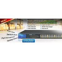 24-Port 10/100/1000T 802.3at PoE + 2-Port Gigabit SFP Ethernet Switch with LCD PoE Monitor (300W)