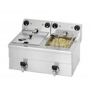 Saro Fritteuse | 2x10 Liter | Mit Ablassventil | 2x3,25kW | 680x515x (H) 300mm