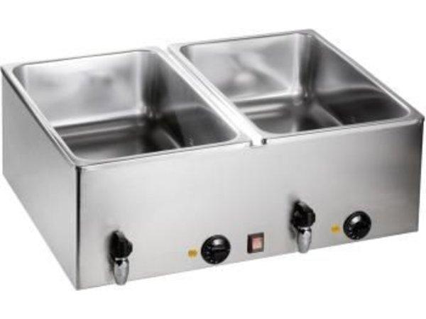 Saro Doppel Bain-Marie | 2x1 / 1 GN | Mit Ablassventil | 1,2kW | 690x540x (H) 230mm