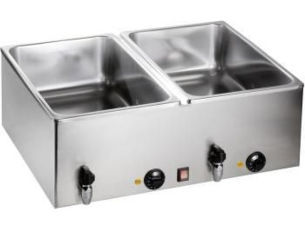 Saro Double Bain Marie | 2x1 / 1 GN | With drain valve | 1,2kW | 690x540x (H) 230mm