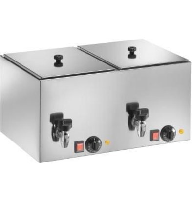 Saro Sausage Warmer Double - With drain valve - 560x350x (H) 290 mm