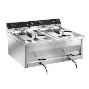 Saro Doppel Fryer Modell | Edelstahl | Gastro Line | 2x12 Liter | 400V | 800x700x (H) 320mm