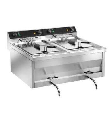 Saro Friteuse Dubbel Model | RVS | Gastroline | 2x12 Liter | 400V | 800x700x(H)320mm
