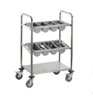 Saro Cutlery trolley - one leaf - two cutlery trays - 630x400x (h) 980mm