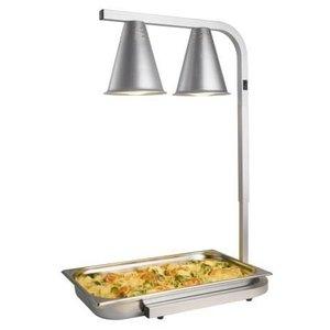 Saro Warming Lamp Double - Infrared - Aluminium - CN Holder - 350x425x (H) 595-795mm