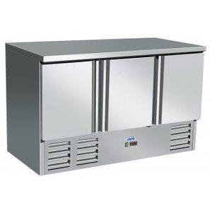 Saro Koelwerkbank - RVS - 3 Türen - 137x70x (h) 85cm