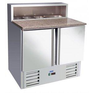 Saro Pizza Workbench - SS - 2 Türen - 90x70x (h) 110cm - Mit 5x 1/6 GN